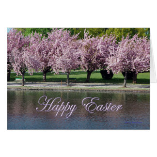 Happy Easter Pink Tree Blossoms Along the Shore Card