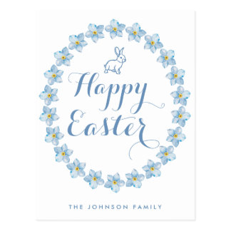 Happy Easter Postcards Light Blue Bunny And Wreath