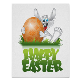 Happy Easter poster: Easter Bunny Egg Poster