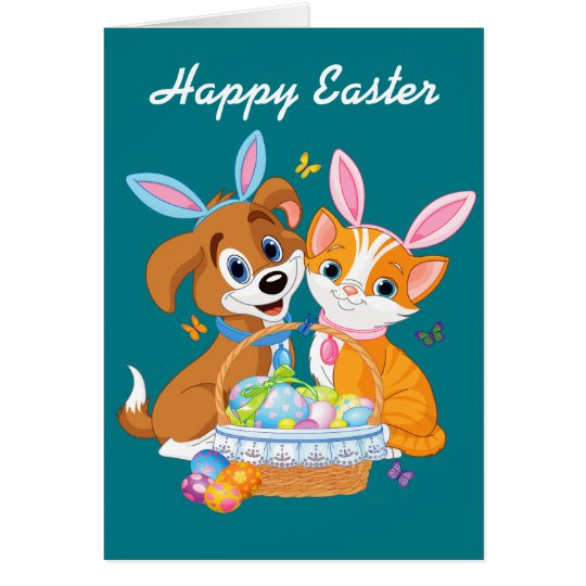 Happy Easter Puppy and Kitten Card