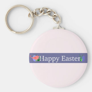 Happy Easter Purple Banner Basic Round Button Key Ring