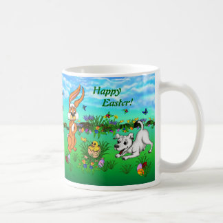Happy Easter! Rabbit, Chick and Puppy Coffee Mug