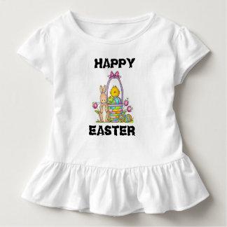 Happy Easter Rabbit Toddler Ruffle Tee