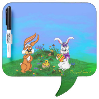 Happy Easter! Rabbit with Bunny and Chick Dry Erase Board