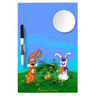 Happy Easter! Rabbit with Bunny and Chick Dry Erase Board With Mirror