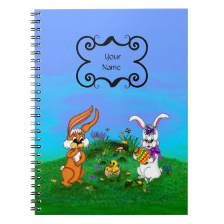 Happy Easter! Rabbit with Bunny and Chick Notebook