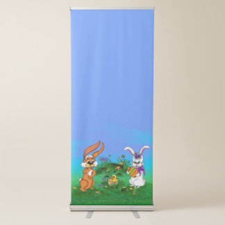 Happy Easter! Rabbit with Bunny and Chick Retractable Banner