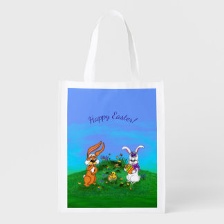 Happy Easter! Rabbit with Bunny and Chick Reusable Grocery Bag