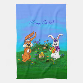 Happy Easter! Rabbit with Bunny and Chick Tea Towel