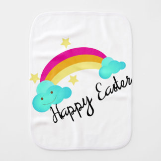 Happy Easter Rainbow Little Girls Burp Cloth