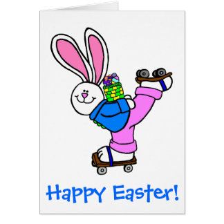 Happy Easter Roller Skating Bunny with eggs Card