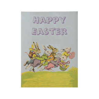 Happy Easter Running Rabbits Eggs Baskets Wood Poster