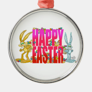 Happy Easter. Silver-Colored Round Decoration