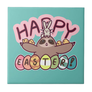 Happy Easter Sloth Ceramic Tile