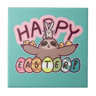 Happy Easter Sloth Ceramic Tile
