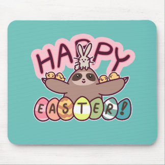Happy Easter Sloth Mouse Pad