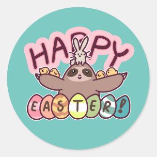 Happy Easter Sloth Round Sticker