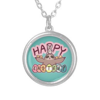 Happy Easter Sloth Silver Plated Necklace