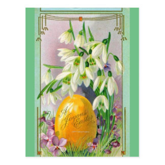 HAPPY EASTER SNOWDROP FLOWERS AND EGGS POSTCARD