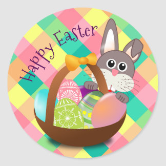 Happy Easter Spring Chequerboard Pattern Classic Round Sticker