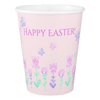 Happy Easter Spring Garden Paper Cups