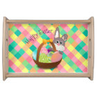 Happy Easter Spring Plaid Pattern Serving Tray