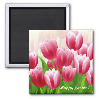 Happy Easter Spring Tulips Easter Gift Magnets