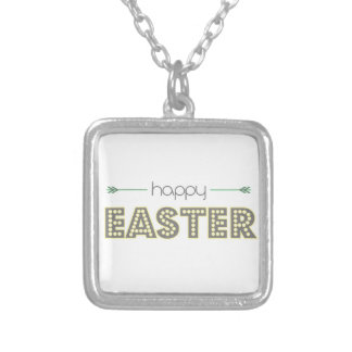 happy easter spring yellow mint green simple silver plated necklace