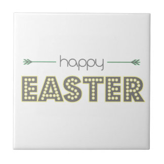 happy easter spring yellow mint green simple tile