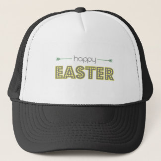happy easter spring yellow mint green simple trucker hat