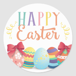Happy Easter Sticker, Egg Hunt Favor Tags