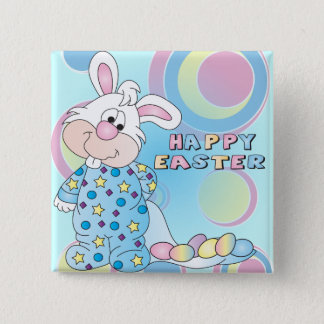 Happy Easter Sweet Bunny Boy with Eggs 15 Cm Square Badge