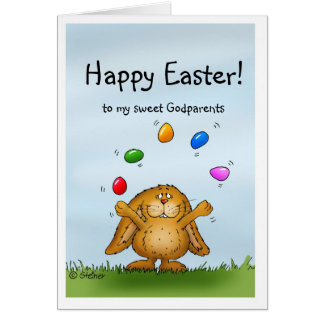 Happy Easter to my Godparents - Juggling Bunny Greeting Card