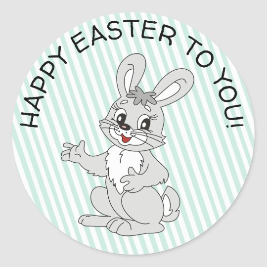 Happy Easter To You Cute Bunny Easter Stickers