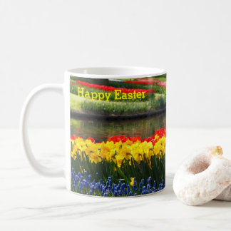 Happy Easter tulip, daffodil, hyacinth coffee mug
