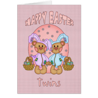 Happy Easter - Twins - Cute Teddy Bear In Bunny Co Card