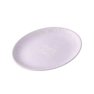 Happy Easter Typography Pastel Pink White Plate