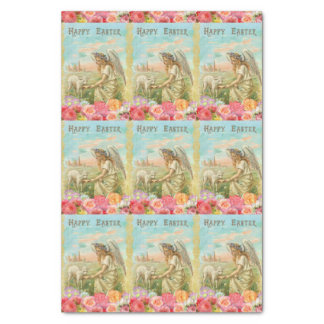 Happy Easter Typography Vintage Angel Lamb Tissue Paper