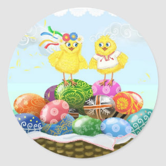 Happy Easter Ukrainian chickens Classic Round Sticker