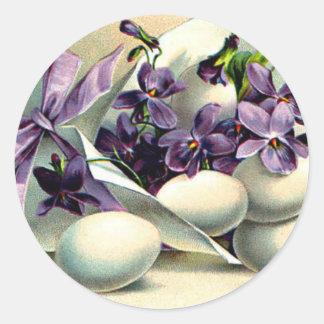 Happy Easter Violets & Eggs Vintage Round Sticker