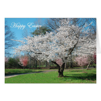Happy Easter White Cherry Tree in Park Card