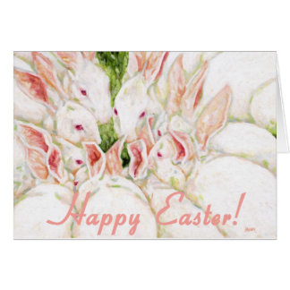 Happy Easter - White Rabbits Card