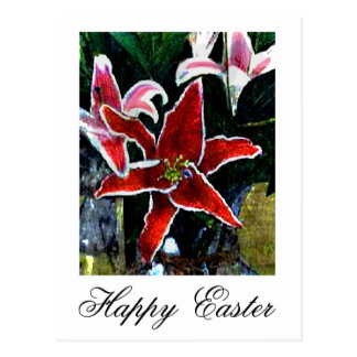 Happy Easter White Tiger Lily jGibney The MUSEUM Postcard