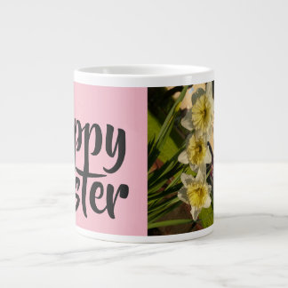 Happy Easter with beautiful daffodils Large Coffee Mug