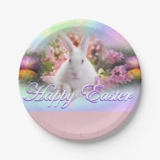 Happy Easter with Bunny 7 Inch Paper Plate