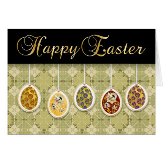 Happy Easter With Coloured Eggs - 1 Card