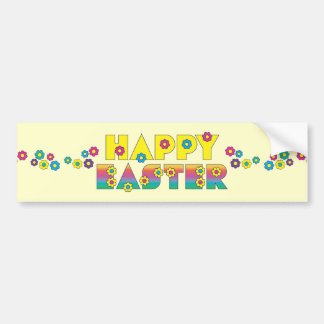 Happy Easter with Flowers Car Bumper Sticker