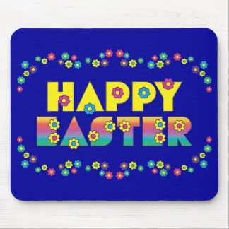 Happy Easter with Flowers Mouse Pad
