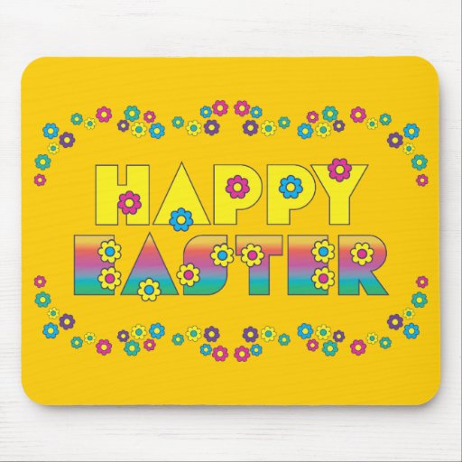 Happy Easter with Flowers Mousepad