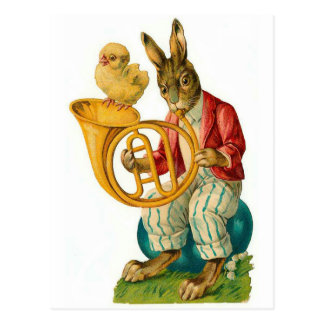 Happy Easter With French Horn Vintage Postcard